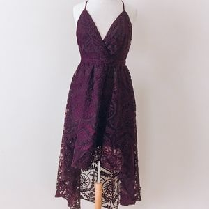 Plum High-Low Lace Dress